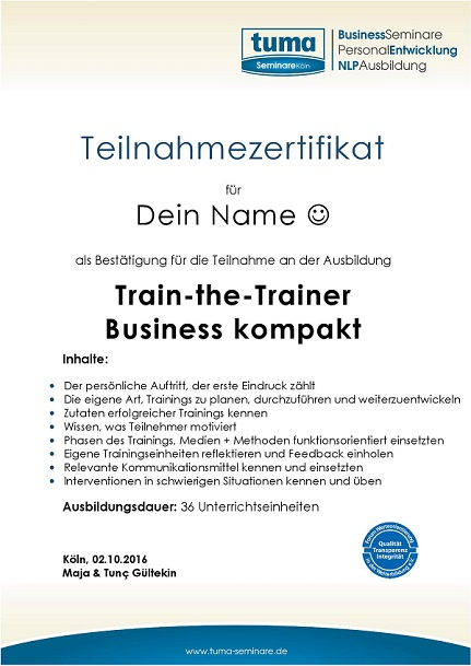Train the Trainer Zertifikat